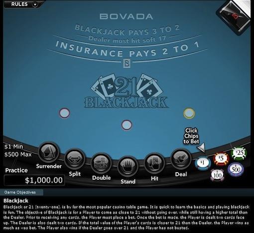 Bovada Casino Blackjack