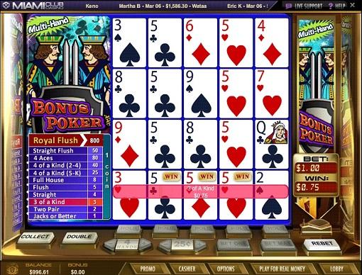 Miami Club Casino Video Poker