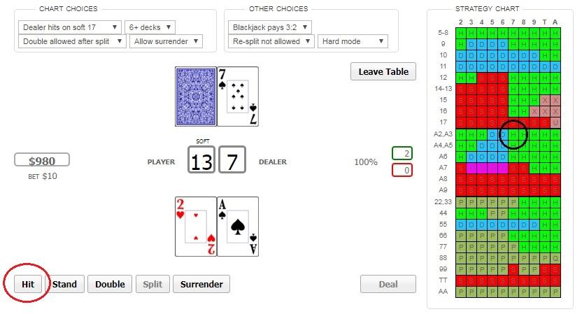 blackjack trainer online casino